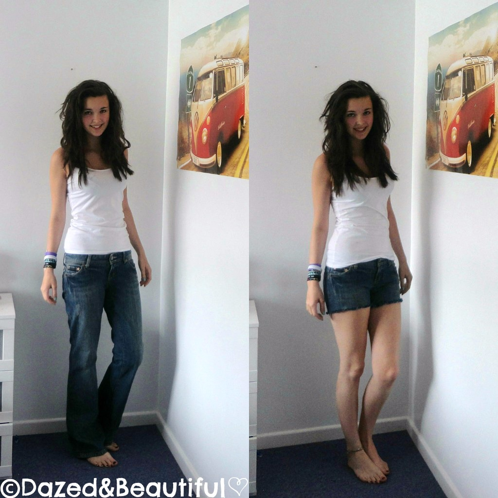 DIY High Waisted Distressed Denim Shorts  Wonder Forest