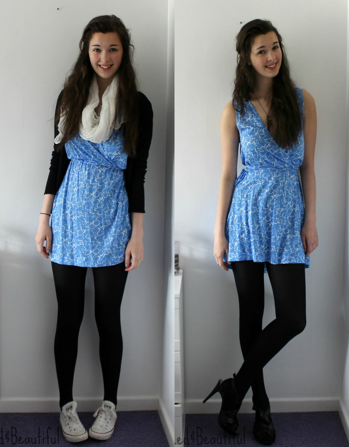Formal Dress With Tights This blue printed dress is